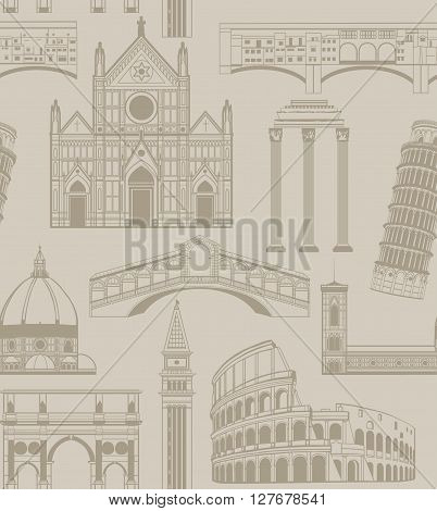 vector seamless background with famous Italian landmarks