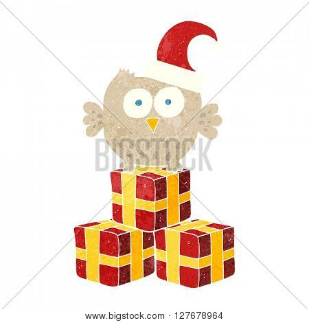 freehand retro cartoon little owl wearing christmas hat