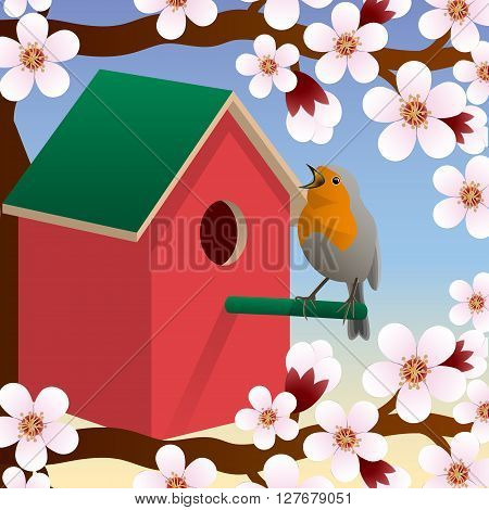 The bird near birdhouse. Blossoming spring tree. Spring. Vector Image.