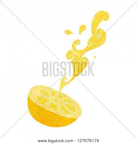 freehand drawn retro cartoon lemon