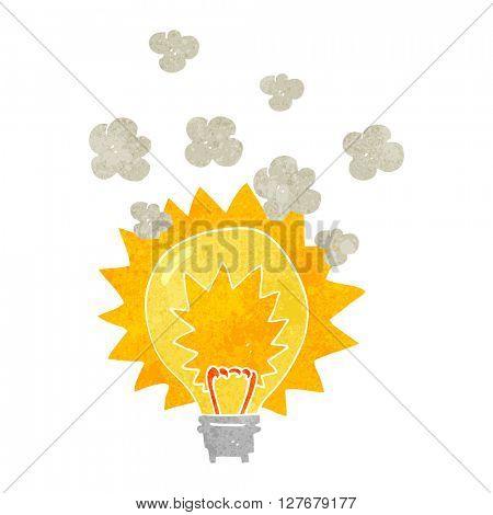 freehand drawn retro cartoon light bulb shining