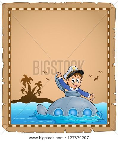 Parchment with sailor on submarine - eps10 vector illustration.