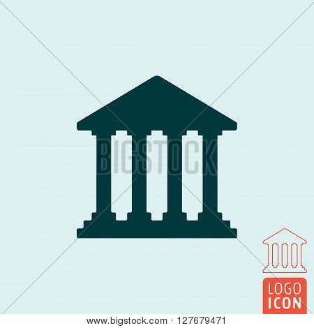 Bank icon. Ancient building symbol. Vector illustration
