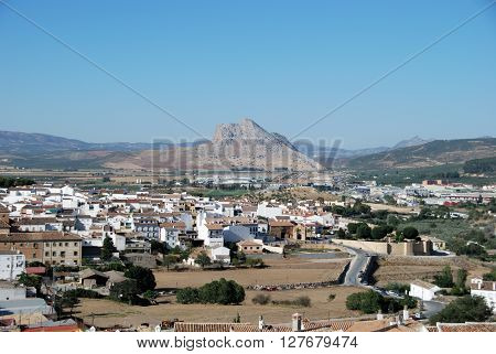 ANTEQUERA, SPAIN - JULY 1, 2008 - View looking East towards the Lovers Mountain (La Pena de los Enamorados) Antequera Malaga Province Andalucia Spain Western Europe, July 1, 2008.