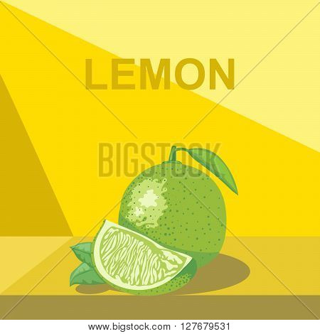 A whole big ripe lemon with green leaves and a half lemon on a table digital vector image.