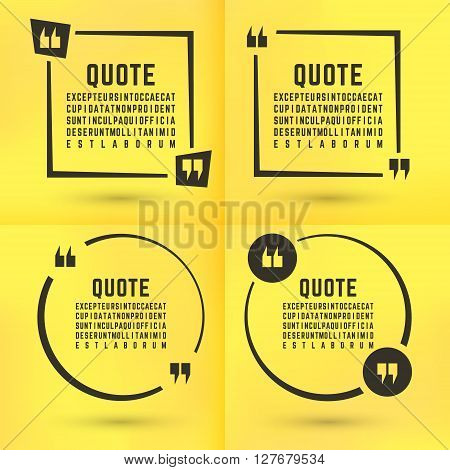 Quotes template set. Quote bubble set. Quotes square. Quote form. Quotes box template. Paper yellow memo sticker background. Vector illustration.