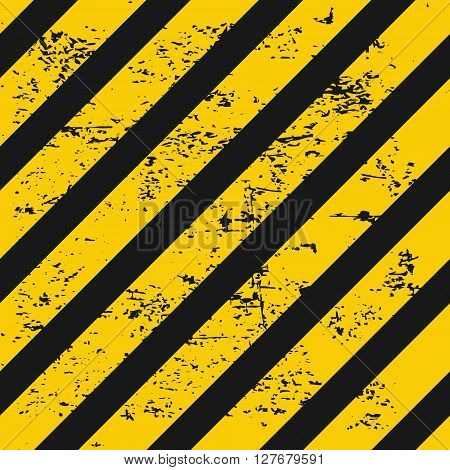 Industry warning seamless background. Black and yellow diagonal stripes with grunge texture. Vector illustration.