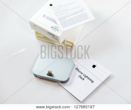 PARIS FRANCE - APR 21 2016: Unboxing o fthe new Apple Docking Station for the iPhone SE and iPhone 6S