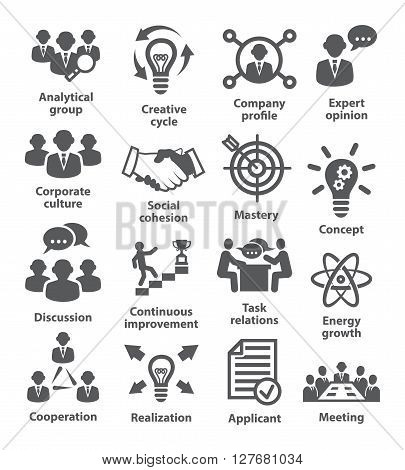 Business management icons on white. Pack 14.