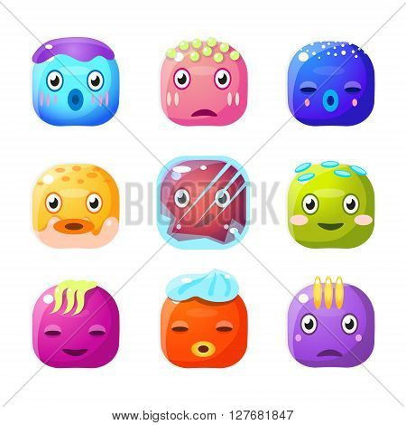 Square Fantastic Creature Face Emoji Set Of Flat Brightly Coloured Vector Design Cute Icons Isolated On White Background