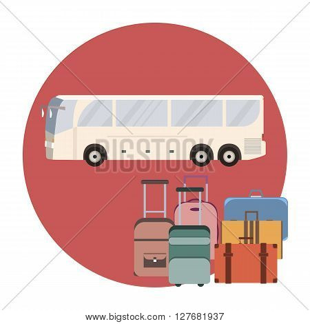 Tourist coach bus concept. Travel bus and luggage banner. Vector illustration