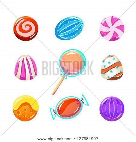 Different Candy Collection Of Flat Brightly Coloured Vector Design Cute Icons Isolated On White Background
