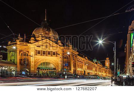 Flinders Street Station At Night