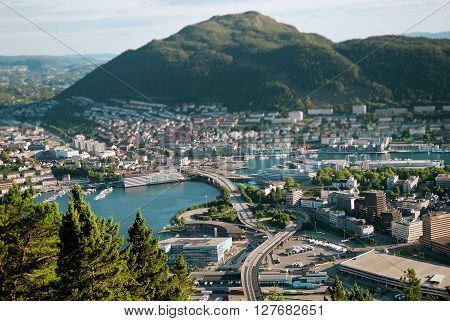 Tilt-shift photography style cityscape of Bergen Norway from above