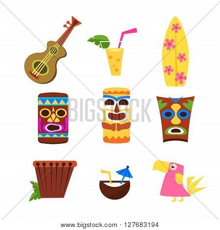 Hawaii Themed Collection Of Flat Isolated Vector Icons In Bright Colors On White Background
