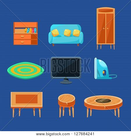 Living Room Furniture Set Of Flat Isolated Vector Simplified Bright Color Design Icons On Blue Background