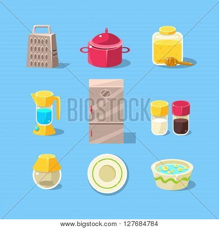 Kitchen Equipment Set Of Flat Isolated Vector Simplified Bright Color Design Icons On Blue Background
