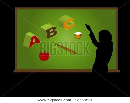 Virtual Classroom (1 of 3) - Teaching ABC; Separate Items, Vector