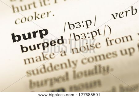 Close Up Of Old English Dictionary Page With Word Burp.