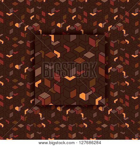 Vector Futuristic Seamless Patterns Set With Color Cubes