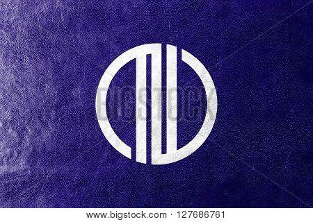Flag Of Sendai, Japan, Painted On Leather Texture