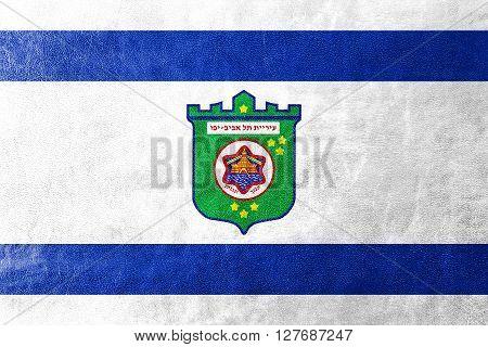 Flag Of Tel Aviv, Painted On Leather Texture