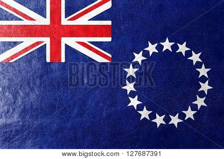 Flag Of The Cook Islands, Painted On Leather Texture