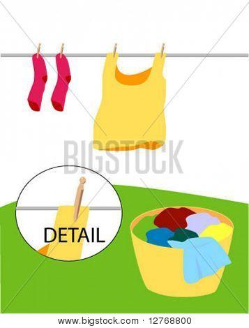 Lavandería - separe las prendas - Vector