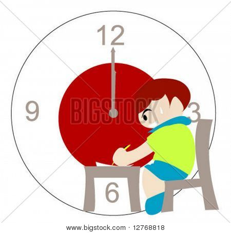 Concept: Time's up, Student finishing up exam - Vector