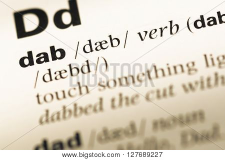 Close Up Of Old English Dictionary Page With Word Dab.