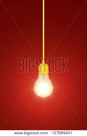 3d rendering of a light bulb on a red background