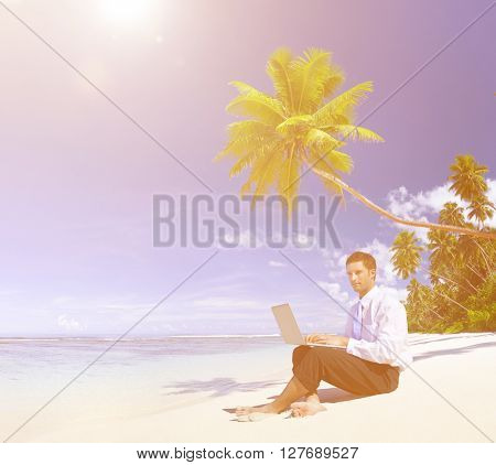 Businessman Working Laptop Summer Concept
