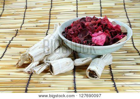 Thai Dessert Dry Rose Leaves And Teapot