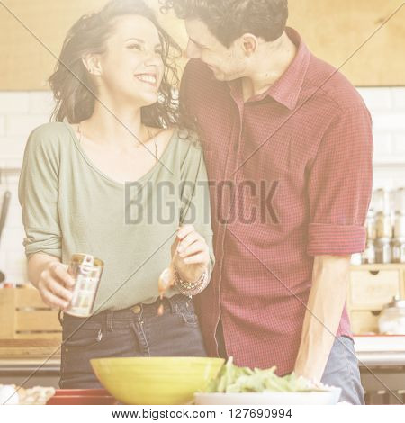 Couple Cooking Togetherness Love Romance Concept
