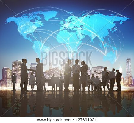 Business People Meeting Discussion Global Business Concept