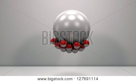Realistic glossy red plastic balls magnetically attached on a large pearly sphere. Technology abstract composition. Depth of field settings. 3d rendering.