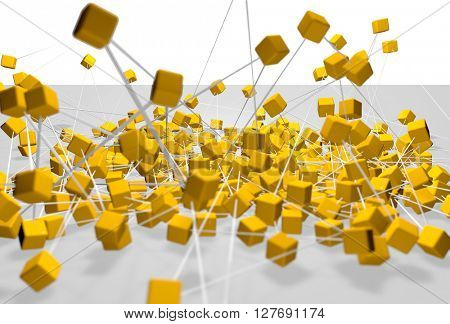 Fantasy yellow plastic cubes background. Abstract futuristic technology composition. Depth of field settings. 3d rendering.