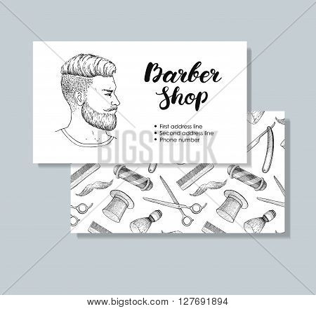 Vector vintage hand drawn Barber Shop business cards. Detailed illustrations. Hipster man with beard mustage scissors ribbon whisker and lettering styled text.
