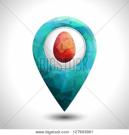 Map easter pin creative design. polygonal style modern icon. pointer vector symbol marker sign. Premium editable template.