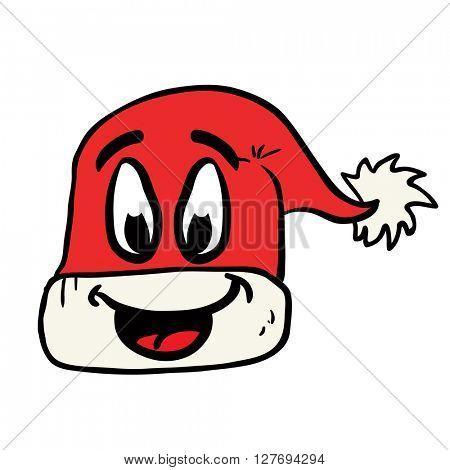 freehand drawn happy christmas hat cartoon illustration
