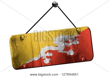 Bhutan flag, 3D rendering, grunge old sign on a rope