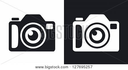 Photo camera icon stock vector. Two-tone version on black and white background