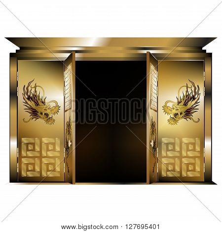 Vector illustration of a traditional east gate gold dragons two open doors. Isolated object on a white background can be used with any image or text.