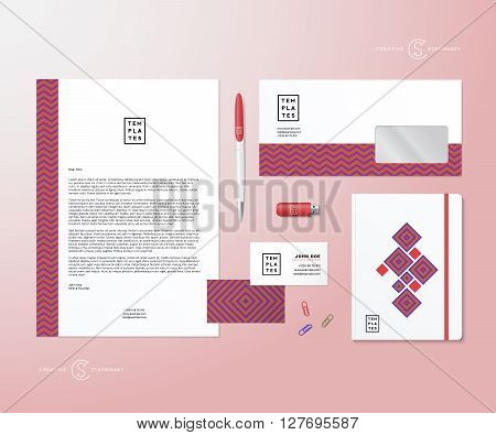 Creative Geometry Pink and Blue Realistic Vector Stationary Set with Soft Shadows. Good as Template or Mock Up for Business Identity. Isolated.