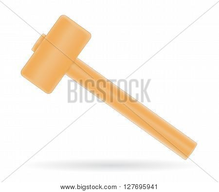 Traditional mallet with wooden handle, vector illustration isolated on white
