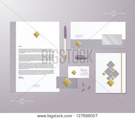 Creative Geometry Purple and Gold Realistic Vector Stationary Set with Soft Shadows. Good as Template or Mock Up for Business Identity. Isolated.