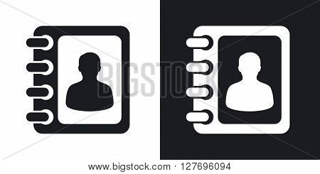 Vector address book icon. Two-tone version on black and white background