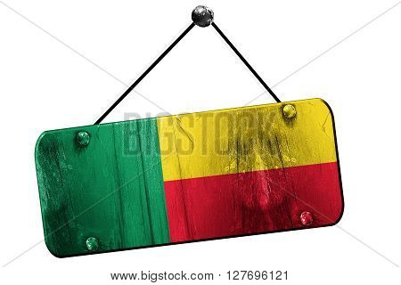 Benin flag, 3D rendering, grunge old sign on a rope