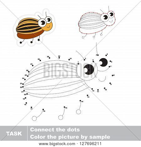 Colorado potato beetle in vector to be traced by numbers. Vector visual game for children.