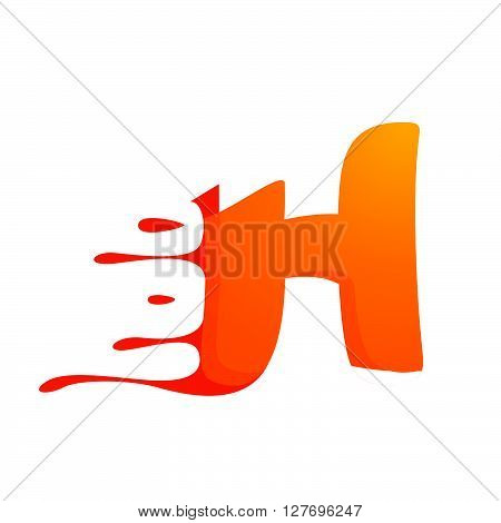L Letter With Orange Juice Drops And Leaves.
